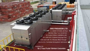 2 x 450kW SRS Frigadon 3000-TC-SS HYCOOL chillers installed at B C Tree Fruits British Columbia with Text